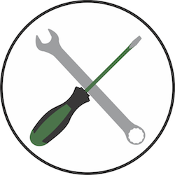 A screwdriver and a wrench, symbolizing the building of software.