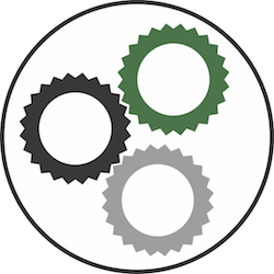Gears working together, symbolizing automation.