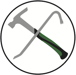 A hammer and a pry-bar, used to symbolize software upgrading and replacement.